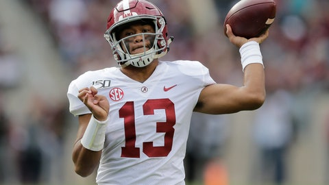 <p>               Alabama quarterback Tua Tagovailoa (13) passes against Texas A&M during the second half of an NCAA college football game, Saturday, Oct. 12, 2019, in College Station, Texas. (AP Photo/Sam Craft)             </p>