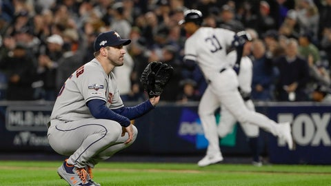 <p>               Houston Astros starting pitcher Justin Verlander (35) reacts after giving up a three-run home run against the New York Yankees during the first inning of Game 5 of baseball's American League Championship Series, Friday, Oct. 18, 2019, in New York. (AP Photo/Frank Franklin II)             </p>