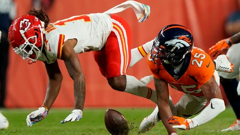 <p>               Denver Broncos cornerback Chris Harris (25) breaks up a pass intended for Kansas City Chiefs wide receiver Demarcus Robinson during the second half of an NFL football game, Thursday, Oct. 17, 2019, in Denver. (AP Photo/Jack Dempsey)             </p>