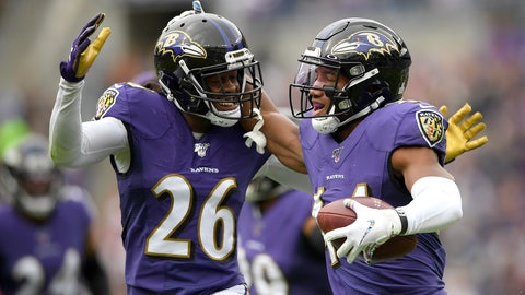 <p>               Baltimore Ravens cornerback Marlon Humphrey, right, celebrates his interception off a pass from Cincinnati Bengals quarterback Andy Dalton with teammate cornerback Maurice Canady (26) during the first half of a NFL football game Sunday, Oct. 13, 2019, in Baltimore. (AP Photo/Nick Wass)             </p>