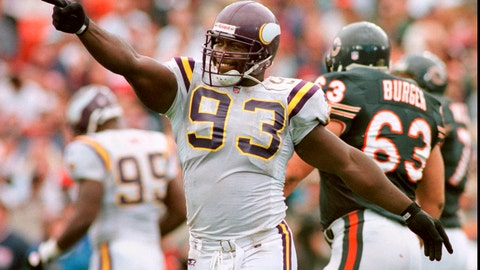 <p>               FILE - In this Aug. 15, 1996, file photo, Minnesota Vikings' John Randle celebrates and points at his teammates on the sidelines after disrupting a key fourth quarter pass by Chicago Bears' quarterback Erik Kramer, in Chicago. From a sackmaster defensive tackle to a do-everything running back, the list of the NFL's greatest characters, numbers 31-100, is impressive. Pro Football Hall of Famer John Randle, who retired with the most sacks for his position of anyone, came in at No. 30, one spot in front of the always-entertaining and sometimes out of control Terry Bradshaw. (Jeff Wheeler/Star Tribune via AP, File)             </p>