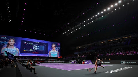 <p>               Elina Svitolina of Ukraine hits a return shot to Karolina Pliskova of the Czech Republic during their WTA Finals Tennis Tournament in Shenzhen, China's Guangdong province, Monday, Oct. 28, 2019. (AP Photo/Andy Wong)             </p>