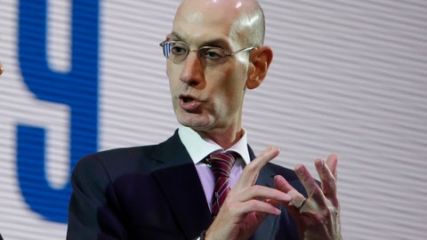 <p>               NBA Commissioner Adam Silver speaks during a welcome reception for the NBA Japan Games 2019 between the Toronto Raptors and the Houston Rockets in Tokyo, Japan, Monday, Oct. 7, 2019. (AP Photo/Kiichiro Sato)             </p>