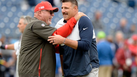 <p>               Tampa Bay Buccaneers head coach Bruce Arians, left, greets Tennessee Titans head coach Mike Vrabel before an NFL football game Sunday, Oct. 27, 2019, in Nashville, Tenn. (AP Photo/Mark Zaleski)             </p>