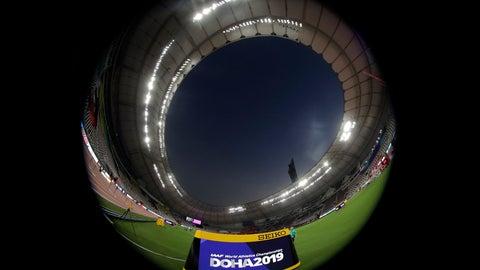 <p>               A general view shows the Khalifa International Stadium prior the start of the World Athletics Championships in Doha, Qatar, Thursday, Sept. 26, 2019. (AP Photo/Hassan Ammar)             </p>