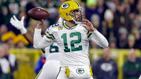 <p>               Green Bay Packers quarterback Aaron Rodgers drops back to pass during the first half of an NFL football game against the Detroit Lions, Monday, Oct. 14, 2019, in Green Bay, Wis. (AP Photo/Jeffrey Phelps)             </p>