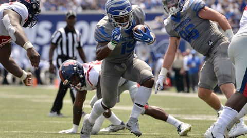 <p>               FILE - In this Aug. 31, 2019, file photo, Memphis running back Kenneth Gainwell (19) carries the ball in the first half of an NCAA college football game against Mississippi, in Memphis, Tenn. Gainwell has run for 620 yards and averages 124 yards rushing per game to rank sixth among all Football Bowl Subdivision players. Memphis takes on Temple in Philadelphia on Saturday. Temple ranks second among all FBS teams in red-zone defense and fourth in third-down conversion percentage defense. (AP Photo/Brandon Dill, File)             </p>
