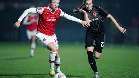 <p>               Arsenal's Louise Quinn, left and Slavia Praha's Laura Zemberyova vie for the ball, during the Women's Champions League round of 16 second leg soccer match between Arsenal and Slavia Praha, at Meadow Park, in Borehamwood, England, Thursday, Oct. 31, 2019. (Tess Derry/PA via AP)             </p>