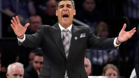 <p>               FILE - In this March 14, 2019, file photo, Villanova head coach Jay Wright reacts during the first half of an NCAA college basketball game against Providence at the Big East Conference tournament in New York. Wright is starting his 19th season at Villanova, where he is already the winningest coach in program history. (AP Photo/Frank Franklin II, File)             </p>