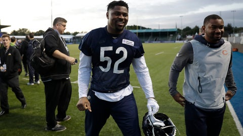 <p>               Chicago Bears' outside linebacker Khalil Mack, 52, walks off the field after an NFL training session at the Allianz Park stadium in London, Friday, Oct. 4, 2019. The Chicago Bears are preparing for an NFL regular season game against the Oakland Raiders in London on Sunday. (AP Photo/Matt Dunham)             </p>