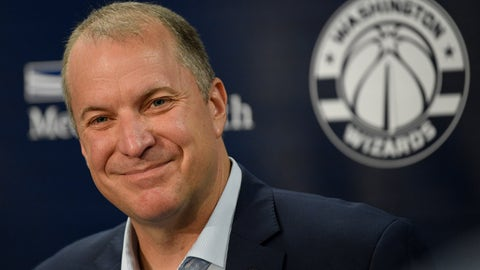<p>               Washington Wizards general manager Tommy Sheppard smiles at an NBA basketball press conference, Thursday, Sept. 26, 2019, in Washington. (AP Photo/Nick Wass)             </p>