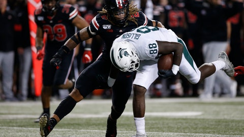 <p>               Ohio State defensive end Chase Young, left, tackles Michigan State tight end Trenton Gillison during the second half of an NCAA college football game Saturday, Oct. 5, 2019, in Columbus, Ohio. Ohio State beat Michigan State 34-10. (AP Photo/Jay LaPrete)             </p>