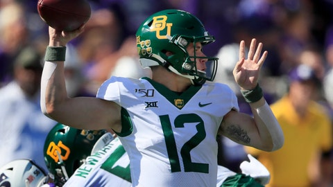<p>               Baylor quarterback Charlie Brewer (12) passes to a teammate during the first half of an NCAA college football game against Kansas State in Manhattan, Kan., Saturday, Oct. 5, 2019. (AP Photo/Orlin Wagner)             </p>