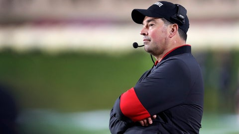 <p>               Ohio State head coach Ryan Day looks out over the field during the second half of the team's NCAA college football game against Northwestern Friday, Oct. 18, 2019, in Evanston, Ill. Ohio State won 52-3. (AP Photo/Charles Rex Arbogast)             </p>