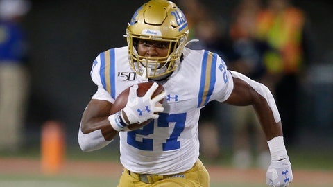 <p>               UCLA running back Joshua Kelley (27) runs for a first down against Arizona in the second half during an NCAA college football game, Saturday, Sept. 28, 2019, in Tucson, Ariz. Arizona defeated UCLA 20-17. (AP Photo/Rick Scuteri)             </p>