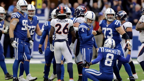 <p>               Indianapolis Colts kicker Adam Vinatieri (4) reacts with punter Rigoberto Sanchez (8) after making a winning field goal during the second half of an NFL football game against the Denver Broncos, Sunday, Oct. 27, 2019, in Indianapolis. (AP Photo/Darron Cummings)             </p>