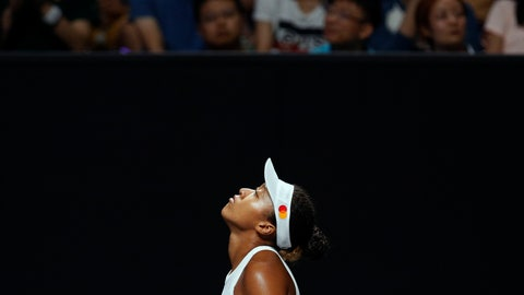 <p>               Naomi Osaka of Japan reacts as she plays against Petra Kvitova of the Czech Republic during their WTA Finals Tennis Tournament in Shenzhen, China's Guangdong province, Sunday, Oct. 27, 2019. (AP Photo/Andy Wong)             </p>
