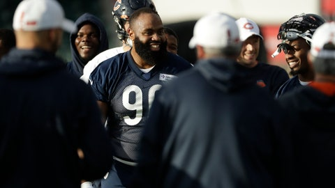 <p>               Chicago Bears' defensive end Akiem Hicks, 96, stands in a huddle during an NFL training session at the Allianz Park stadium in London, Friday, Oct. 4, 2019. The Chicago Bears are preparing for an NFL regular season game against the Oakland Raiders in London on Sunday. (AP Photo/Matt Dunham)             </p>