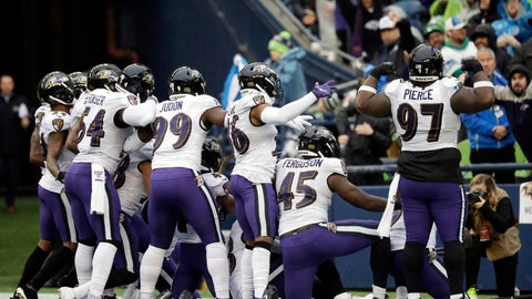 <p>               Baltimore Ravens players take part in a group photo touchdown celebration after cornerback Marlon Humphrey recovered a fumble and ran for a touchdown during the second half of an NFL football game against the Seattle Seahawks, Sunday, Oct. 20, 2019, in Seattle. (AP Photo/John Froschauer)             </p>