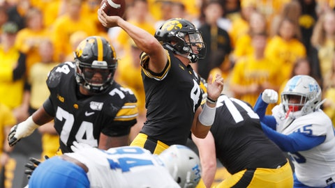 <p>               Iowa quarterback Nate Stanley, center, throws a pass during the first half of an NCAA college football game against Middle Tennessee, Saturday, Sept. 28, 2019, in Iowa City, Iowa. (AP Photo/Charlie Neibergall)             </p>
