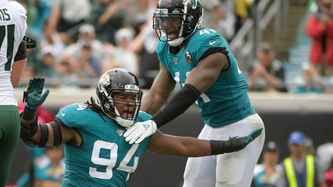 <p>               Jacksonville Jaguars defensive end Dawuane Smoot (94) celebrates after sacking New York Jets quarterback Sam Darnold during the first half of an NFL football game, Sunday, Oct. 27, 2019, in Jacksonville, Fla. (AP Photo/Phelan M. Ebenhack)             </p>