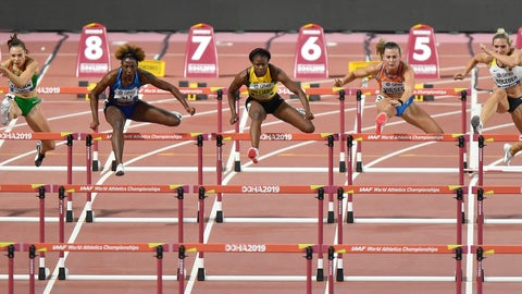 <p>               Luca Kozak, of Hungary, Nia Ali, of the United States, left, Danielle Williams, of Jamaica, Nadine Visser, of the Netherlands, and Cindy Roleder, of Germany, from left, compete in the women's 100 meter hurdles semifinal at the World Athletics Championships in Doha, Qatar, Sunday, Oct. 6, 2019. (AP Photo/Martin Meissner)             </p>