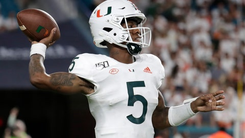 <p>               Miami quarterback N'Kosi Perry (5) throws a pass during the second half of the team's NCAA college football game against Virginia, Friday, Oct. 11, 2019, in Miami Gardens, Fla. Miami won 17-9. (AP Photo/Lynne Sladky)             </p>