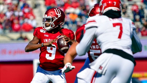 Oct 12, 2019; Bloomington, IN, USA;Indiana Hoosiers quarterback Michael Penix Jr. (9) looks for an open receiver during the second quarter of the game against the Rutgers Scarlet Knights at Memorial Stadium. Mandatory Credit: Marc Lebryk-USA TODAY Sports