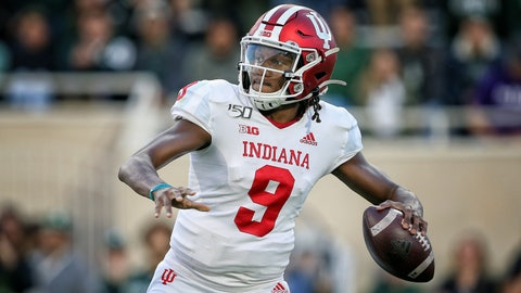 Sep 28, 2019; East Lansing, MI, USA; Indiana Hoosiers quarterback Michael Penix Jr. (9) drops back to throw the ball during the first half of a game against the Michigan State Spartans at Spartan Stadium. Mandatory Credit: Mike Carter-USA TODAY Sports