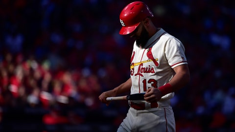 Oct 12, 2019; St. Louis, MO, USA; St. Louis Cardinals third baseman Matt Carpenter (13) reacts during an bat against the Washington Nationals during the second inning in game two of the 2019 NLCS playoff baseball series at Busch Stadium. Mandatory Credit: Jeff Curry-USA TODAY Sports