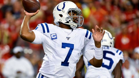 .Indianapolis Colts quarterback Jacoby Brissett (7) throws a pass during the first half of the team's NFL football game against the Kansas City Chiefs in Kansas City, Mo., Sunday, Oct. 6, 2019. (AP Photo/Ed Zurga)