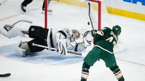 Oct 26, 2019; Saint Paul, MN, USA; Minnesota Wild defenseman Jared Spurgeon (46) scores a goal against Los Angeles Kings goalie Jonathan Quick (32) during the third period at Xcel Energy Center. Mandatory Credit: Ben Ludeman-USA TODAY Sports