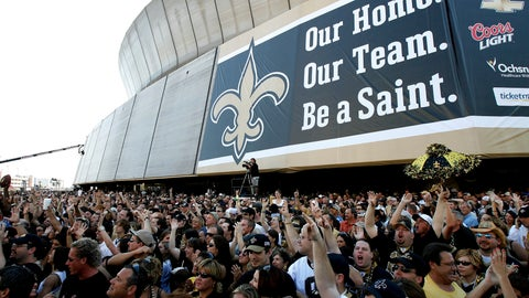 <p>               FILE - In this Sept. 25, 2006, file photo, New Orleans Saints fans listen to the Goo Goo Dolls in front of the Louisiana Superdome in New Orleans before an NFL game between the Saints and the Atlanta Falcons.  (AP Photo/Alex Brandon, File)             </p>
