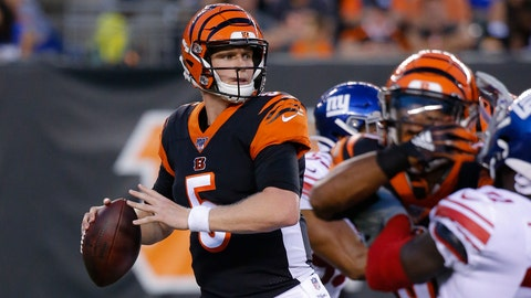 <p>               FILE - In this Aug. 22, 2019, file photo, Cincinnati Bengals quarterback Ryan Finley (5) looks to pass during the first half of an NFL preseason football game against the New York Giants, in Cincinnati. The winless Bengals benched Andy Dalton heading into their bye week, ending his nine-season run as starter so they can start developing rookie Ryan Finley as his potential long-term replacement. The move came two days after a 24-10 loss to the Rams in London left Cincinnati 0-8 for the first time in 11 years. (AP Photo/Frank Victores, File)             </p>