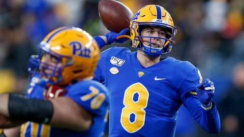 <p>               Pittsburgh quarterback Kenny Pickett (8) passes against Boston College during the first half of an NCAA college football game, Saturday, Nov. 30, 2019, in Pittsburgh. (AP Photo/Keith Srakocic)             </p>