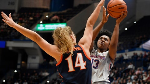 <p>               Connecticut's Christyn Williams (13) shoots as Virginia's Lisa Jablonowski (14) defends during the first half of an NCAA college basketball game, Tuesday, Nov. 19, 2019, in Hartford, Conn. (AP Photo/Jessica Hill)             </p>