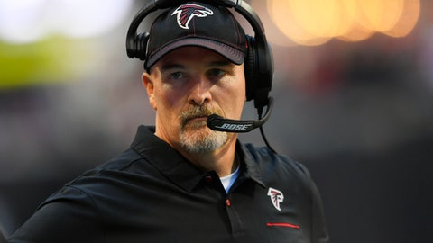 <p>               Atlanta Falcons head coach Dan Quinn stands on the sidelines during the first half of an NFL football game against the Seattle Seahawks, Sunday, Oct. 27, 2019, in Atlanta. (AP Photo/John Amis)             </p>