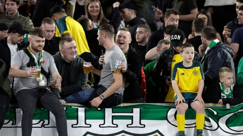 <p>               Celtic fans drink beers ahead of an Europa League group E soccer match between Lazio and Celtic, in Rome's Olympic Stadium, Thursday, Nov. 7, 2019 (AP Photo/Gregorio Borgia)             </p>