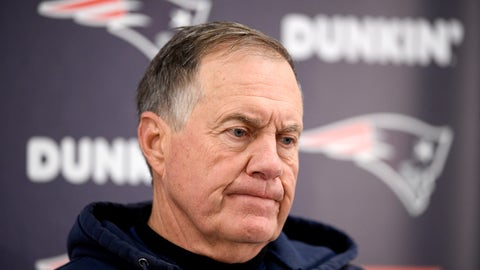 <p>               New England Patriots' Bill Belichick talks to reporters after an NFL football game against the Baltimore Ravens, Sunday, Nov. 3, 2019, in Baltimore. The Ravens won 37-20. (AP Photo/Nick Wass)             </p>