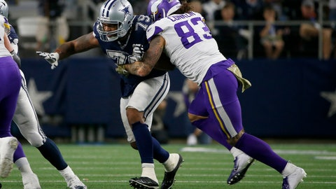<p>               Dallas Cowboys defensive lineman Michael Bennett (79) rushes as Minnesota Vikings tight end Tyler Conklin (83) blocks during the second half of an NFL football game in Arlington, Texas, Sunday, Nov. 10, 2019. (AP Photo/Ron Jenkins)             </p>