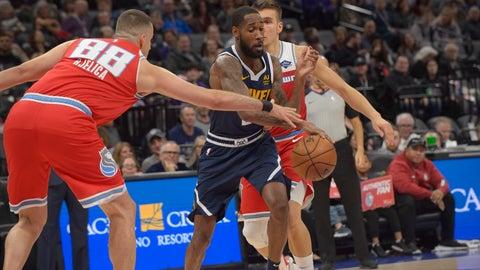 <p>               Sacramento Kings forward Nemanja Bjelica (88) defends against Denver Nuggets guard Will Barton (5) during the first quarter of an NBA basketball game in Sacramento, Calif., Saturday, Nov. 30, 2019 . (AP Photo/Randall Benton)             </p>