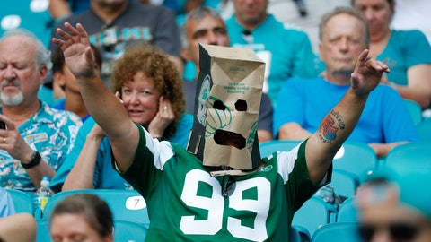 <p>               A New York Jets fan wears a paper bag after the team lost to the Miami Dolphins in an NFL football game, Sunday, Nov. 3, 2019, in Miami Gardens, Fla. (AP Photo/Wilfredo Lee)             </p>