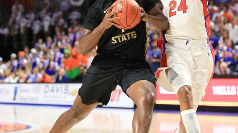 <p>               Florida State forward Raiquan Gray (1) drives past forward Kerry Blackshear Jr. (24) during the first half of an NCAA college basketball game Sunday, Nov. 10, 2019, in Gainesville, Fla. (AP Photo/Matt Stamey)             </p>