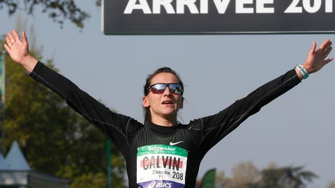 <p>               FILE - In this Sunday, April 14, 2019 file photo, Clemence Calvin of France reacts after crossing the finish line in 4th place in the women's Paris Marathon in Paris, France. France's track and field federation is facing yet another doping controversy after middle distance runner Ophelie Claude-Boxberger tested positive for EPO before the world championships. Claude-Boxebreger's case surfaced just months after European marathon silver medalist Clemence Calvin was provisionally suspended by the AFLD for allegedly obstructing a doping test in Morocco in March. (AP Photo/Thibault Camus, File)             </p>