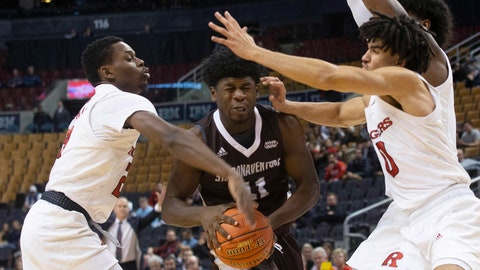 <p>               St. Bonaventure's Alejandro Vasquez tries to drive through the Rutgers defense during the second half of an NCAA college basketball game in the James Naismith Classic in Toronto on Saturday, Nov. 16, 2019. (Chris Young/The Canadian Press via AP)             </p>