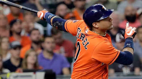 <p>               File - In this Sept. 22, 2017, file photo, Houston Astros' Yuli Gurriel hits a three-run home run against the Los Angeles Angels during the seventh inning of a baseball game in Houston. Gurriel has agreed to an $8.3 million, one-year contract with the Astros, a $300,000 raise from his originally scheduled salary for next season. (AP Photo/David J. Phillip, File)             </p>