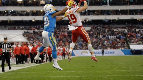 <p>               Kansas City Chiefs defensive back Daniel Sorensen, right, intercepts a pass intended for Los Angeles Chargers running back Austin Ekeler, left, during the second half of an NFL football game Monday, Nov. 18, 2019, in Mexico City. (AP Photo/Marcio Jose Sanchez)             </p>