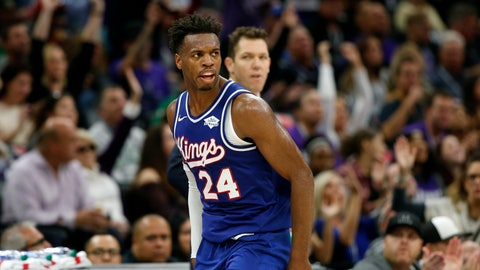 <p>               Sacramento Kings guard Buddy Hield runs down court after scoring a 3-point shoot in the closing minutes of the Kings 100-99 win over the Boston Celtics in an NBA basketball game in Sacramento, Calif., Sunday, Nov. 17, 2019. (AP Photo/Rich Pedroncelli)             </p>