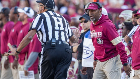 <p>               Florida State head coach Willie Taggart, right, disagrees with the referee in the first half of an NCAA college football game against Miami in Tallahassee, Fla., Saturday, Nov. 2, 2019. (AP Photo/Mark Wallheiser)             </p>