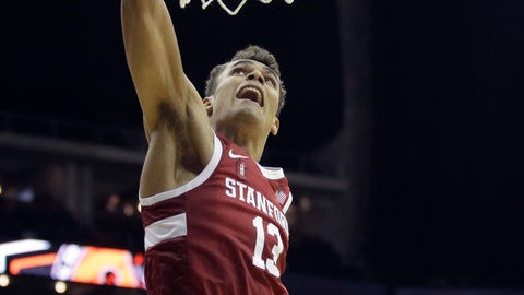 <p>               Stanford center Keenan Fitzmorris dunks the ball during the second half of an NCAA college basketball game against Oklahoma Monday, Nov. 25, 2019, in Kansas City, Mo. Stanford won 73-54. (AP Photo/Charlie Riedel)             </p>